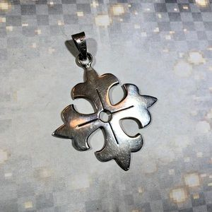 Large Maltese Iron Cross sterling silver pendant